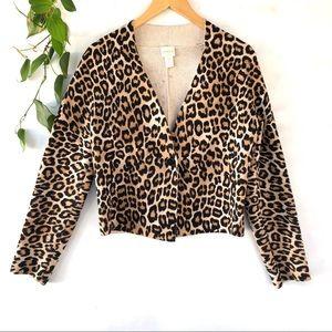 Chico's leopard print sweater blazer size s/4
